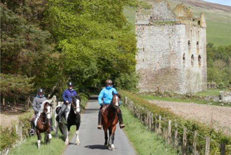 Scottish Equestrian Centre trail with castle