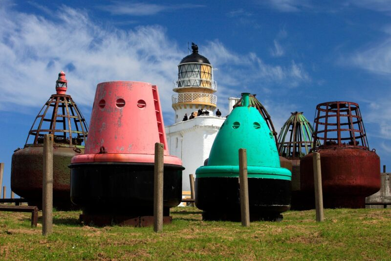 The buoy park at the museum of Scottish lighthouses
