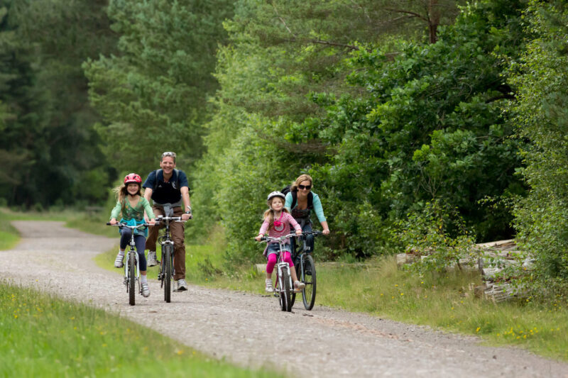 A Family Cycling In Tentsmuir Forest On Part Of The National Cycle Network And The Fife Coastlal Trail Near The Tentsmuir National Nature Reserve By St Andrews Fife