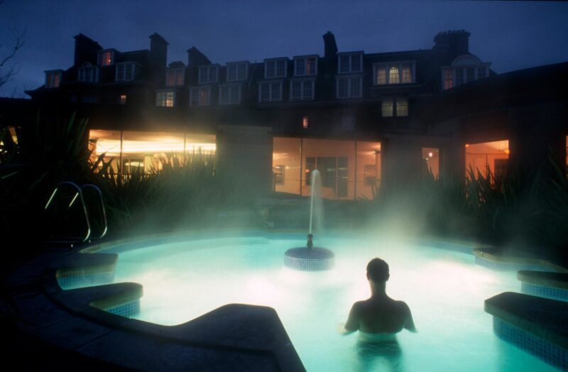 Looking Over The Outdoor Spa Pool At The Gleneagles Hotel South West Of Auchterarder Perth Kinross