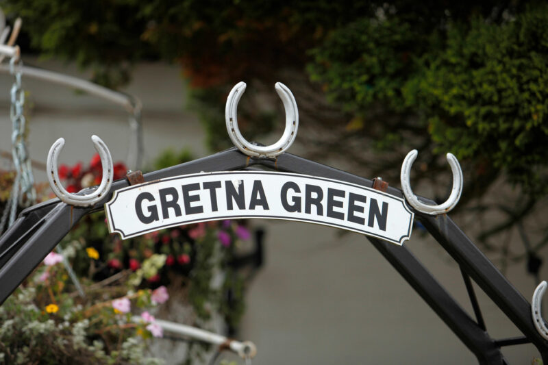 The Gretna Green Sign At The World Famous Old Blacksmiths Shop Gretna Green Dumfries And Galloway