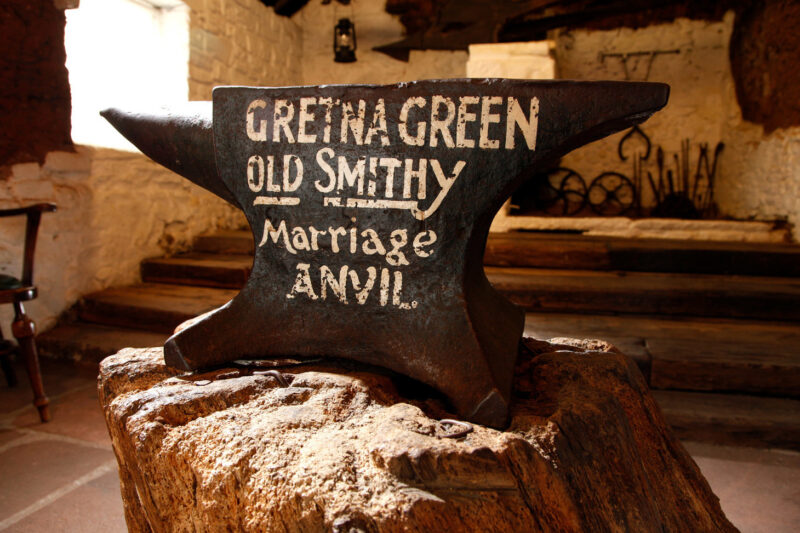 The Marriage Anvil In The Old Smithy Workshop At The World Famous Old Blacksmiths Shop Gretna Green Dumfries And Galloway