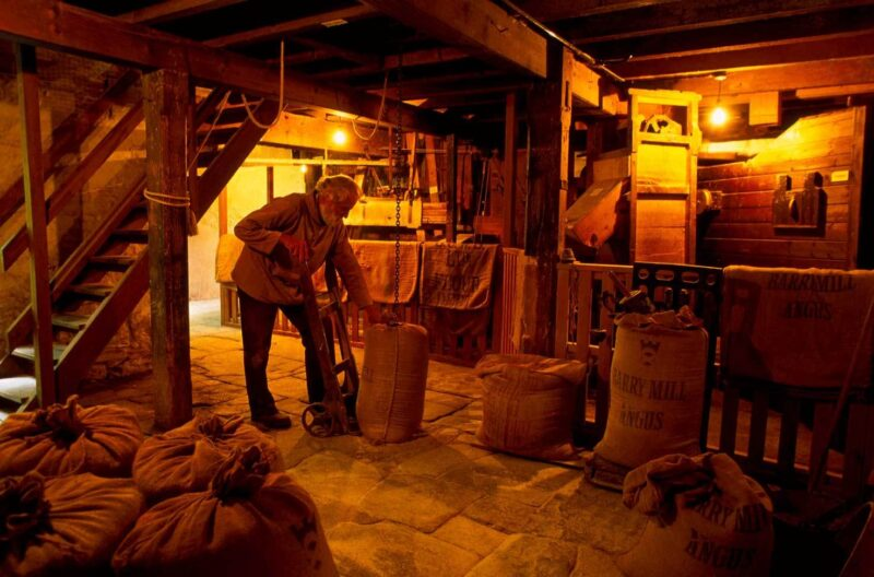 The Miller With A Sack Of Grain Inside Barry Mill A Working 18 C Mill That Gives Demonstrations West Of Carnoustie Angus