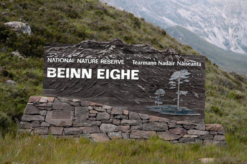 The National Nature Reserve Sign For Beinn Eighe Torridon Highlands Of Scotland