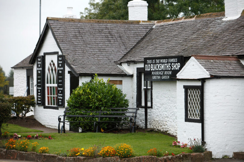 The World Famous Old Blacksmiths Shop Marriage Room Gretna Green Dumfries And Galloway
